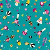 Nahtloses Muster der Blumen-, Vogel- und Pilznatur Lizenzfreie Stockfotos