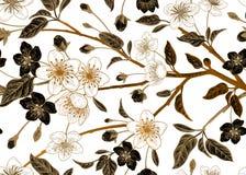 Nahtloses Muster der Blumenweinlese mit japanischer Kirsche lizenzfreie abbildung