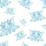 Nahtloses Muster der Blumenweinlese mit Lotosblumen Lizenzfreies Stockbild