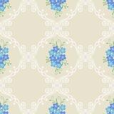 Nahtloses Muster der Blumenweinlese mit Vergissmeinnicht blüht auf einem beige Hintergrund vektor abbildung