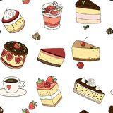 Nahtloses Muster der Bonbons: Käsekuchenkuchen, Süßigkeit, Kirsche, Erdbeere für die Verzierung eines Cafés, Verpackenvektor Bonb lizenzfreie abbildung