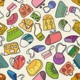 Nahtloses Muster der bunten Art und Weise (Handtaschen) Lizenzfreie Stockfotografie