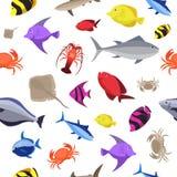 Nahtloses Muster der bunten Fische Ozeanfische und -krabben Auch im corel abgehobenen Betrag Stockfotografie