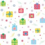 Nahtloses Muster der bunten Geschenke Lizenzfreies Stockbild
