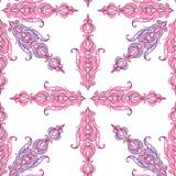 Nahtloses Muster der bunten Spitzes der Weinlese viktorianischen Stockfotos