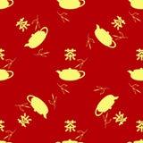 Nahtloses Muster in der chinesischen Art Teeblätter, Teekanne, Hieroglyphentee Der chinesische Schriftzeichen Tee Stockfotos