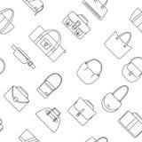 Nahtloses Muster der einfachen Ikonen der Tasche, des Geldbeutels, der Handtasche und des Koffers Lizenzfreie Stockfotografie