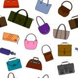 Nahtloses Muster der einfachen Ikonen der Tasche, des Geldbeutels, der Handtasche und des Koffers Stockfoto