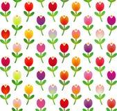 Nahtloses Muster in der einfachen Karikaturart mit bunten Tulpen Auch im corel abgehobenen Betrag Stockfotos