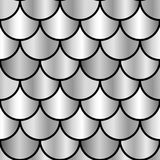 Nahtloses Muster der einfarbigen silbernen glänzenden Skalen Stockbilder