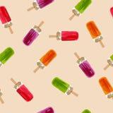 Nahtloses Muster der Eiscreme Eiscreme mit Fruchtsaft Lizenzfreies Stockfoto