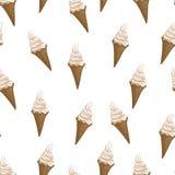 Nahtloses Muster der Eiscreme-Waffelkegel Stilisierte Vektorillustration Stockbilder