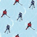 Nahtloses Muster der Eishockeyspieler Stockbilder