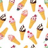 Nahtloses Muster der Eistüte Eiscremekegel getrennt auf weißem Hintergrund Eistütehintergrund Nahtloser Hintergrund Lizenzfreie Stockfotos