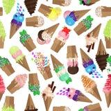 Nahtloses Muster der Eistüte Flocke und Schaufeln des Eiscremehintergrundes Endloses Eistüte- und Flockenmuster lizenzfreie abbildung