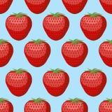 Nahtloses Muster der Erdbeere Frische, rote, reife Erdbeere Stockfotos