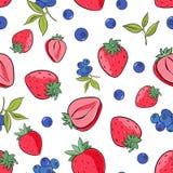 Nahtloses Muster der Erdbeere und der Blaubeere auf wei?em Hintergrund stock abbildung
