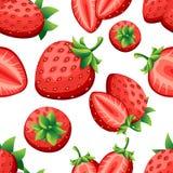 Nahtloses Muster der Erdbeere und Scheiben von strawberrys Vector Illustration für dekoratives Plakat, Naturprodukt des Emblems,  Lizenzfreie Stockbilder
