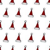 Nahtloses Muster der farbigen, roten und weißen Christmass-Kappe des Klassikers, vektor abbildung