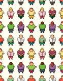 Nahtloses Muster der fetten Leute der Karikatur Stockbild