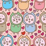 Nahtloses Muster der fetten Liebe der Paare der Katze netten stock abbildung