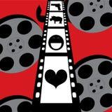 Nahtloses Muster der Filmkino-Spule und Filmstreifen mit Ikonen Lizenzfreies Stockfoto