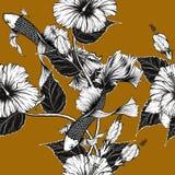 Nahtloses Muster der Fische und der Blume auf Weinlesehintergrund Lizenzfreies Stockfoto