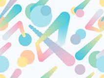 Nahtloses Muster der flüssigen Farbform Geometrische Elemente Memphis, Art der achtziger Jahre Moderne bunte Gegenstände Vektor Lizenzfreie Stockbilder