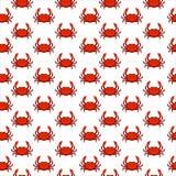 Nahtloses Muster der flachen roten Krabbe - Illustration Meerwasser-Tierhintergrund Lizenzfreies Stockbild