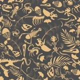 Nahtloses Muster der Fossilien lizenzfreie abbildung