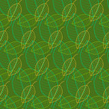 Nahtloses Muster der frischen Blätter im Vektor Endloser Hintergrund des grünen Laubs Stockbilder