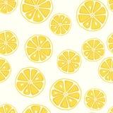 Nahtloses Muster der frischen und leckeren gelben Zitrone stockbild
