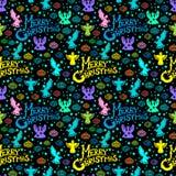 Nahtloses Muster der frohen Weihnachten Stockfotos