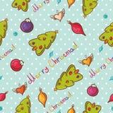 Nahtloses Muster der frohen Weihnachten mit Baum Lizenzfreie Stockfotos