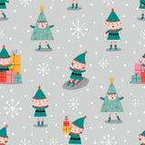Nahtloses Muster der frohen Weihnachten mit Elfen, herein lizenzfreie abbildung