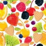 Nahtloses Muster der Frucht, Nüsse, Waffeln Stockfoto