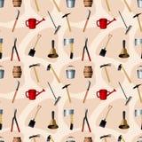 Nahtloses Muster der Gartenarbeithilfsmittel Stockfoto