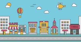 Nahtloses Muster der Gebäude Hintergrund für Spiel Café, Ci Lizenzfreies Stockbild