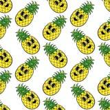 Nahtloses Muster der gelben Ananas Lizenzfreies Stockbild