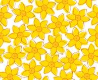 Nahtloses Muster der gelben Blume des Frühlinges auf Weiß Stockfotos