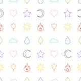 Nahtloses Muster der gelegentlichen abstrakten Ikonen Lizenzfreie Stockbilder