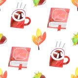 Nahtloses Muster der gemütlichen Gegenstände des Herbstes lokalisiert auf weißem Hintergrund lizenzfreies stockbild
