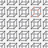 Nahtloses Muster der geometrischen Formen mit flacher Linie Ikonen der Würfelzahl Moderner abstrakter bunter Hintergrund für Geom stock abbildung