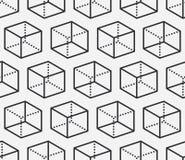 Nahtloses Muster der geometrischen Formen mit flacher Linie Ikonen der Würfelzahl Moderner abstrakter Hintergrund für Geometrie,  lizenzfreie abbildung