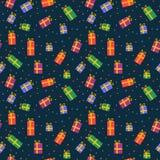 Nahtloses Muster der Geschenkkästen Stockfoto