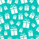 Nahtloses Muster der Geschenkkästen Winterurlaubhintergrund Wiederholte Beschaffenheit mit Geschenkikonen und -schneeflocken Blau vektor abbildung