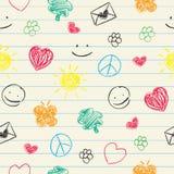 Nahtloses Muster der glücklichen Gekritzel Lizenzfreies Stockbild
