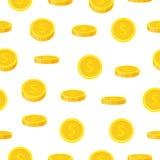 Nahtloses Muster der goldenen Münze in der flachen Art Bargeldschablone, Sieger - Vektorillustration Stockfoto
