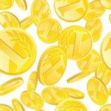 Nahtloses Muster der goldenen Münzen Stockfotos