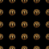 Nahtloses Muster der Goldhandgemalten Wassermelone Lizenzfreie Stockbilder